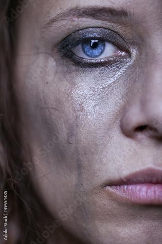 portrait of beautiful crying girl