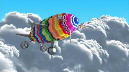 Colorful airship. Introductory splash with green screen.