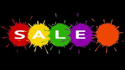 Sale. Text with colored blotches on a black background.