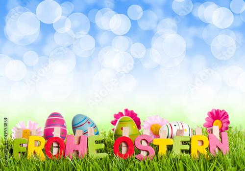 Frohe Ostern mit blauen Bokeh