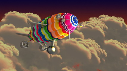 Colorful airship in the clouds. Intro green screen.