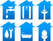 plumbing set of bathroom icons