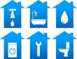 set of bathroom icons with house silhouette
