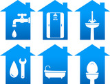 plumbing set of bathroom icons