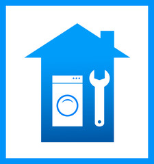 icon with wrench and washing mashine