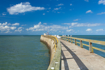 pontoon jetty and channel of grandcamp normandy