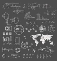 Gezeichnete Elemente - Technologie - Ideen - Lösungen