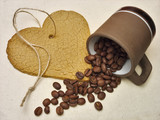 Heart cookie and coffee beans