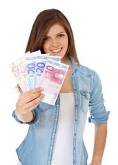 Attraktives Mädchen hält 150 Euro