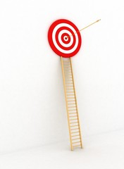 arrow hitting the center of a red target.
