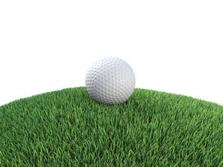 Golf ball sits on grass mound