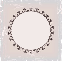 background of round floral vintage frame