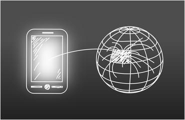 Smartphone - Verbunden (gezeichnet)