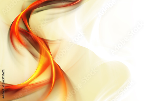 Abstract bright orange waves on white background