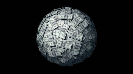 Spinning globe made of Dollars. Looping Animation.