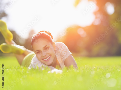 Smiling girl enjoying spring