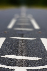 Close up of the centre of a road