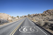 Joshua Tree Desert Highway with Route 66 Sign