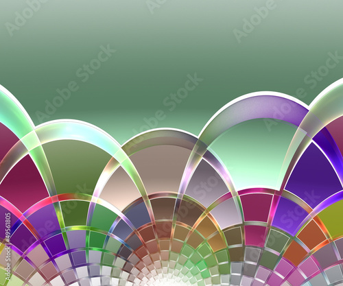 Background of colorful crossing semicircles