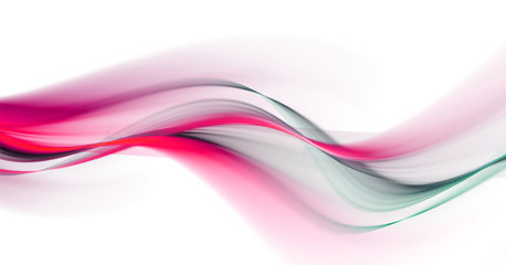 Elegant bright pink and blue waves on white background