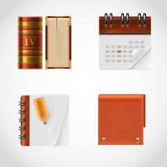 book and calendar vector icon set