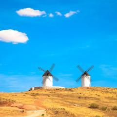 Windmills, rural green fields and blue sky. Consuegra, Spain