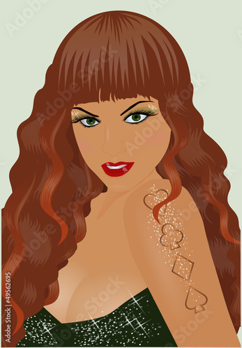 Sexy girl with poker tattoo. vector illustration