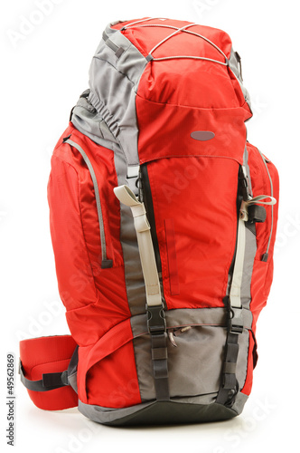 Large red touristic backpack isolated on white