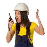 Angry worker looking to walkie-talky poster