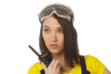 woman with walkie-talky poster