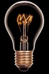 Glühbirne auf Schwarz
