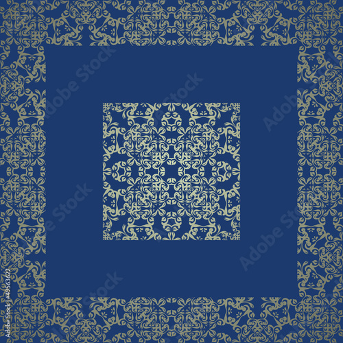 Vintage lace seamless background with frame