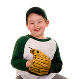 Cute young baseball or t-ball player isolated on white