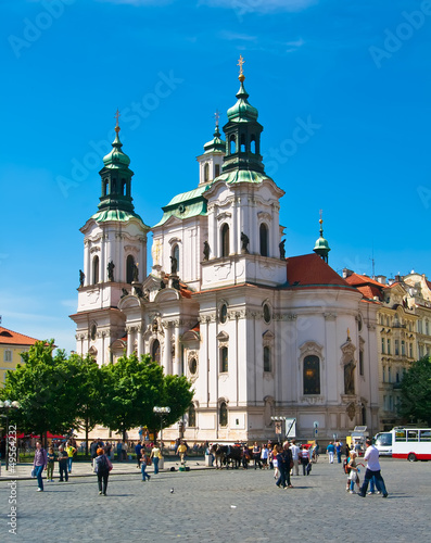 Cathedral of St Nicholas in Old Town Square in Prague