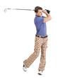 Male golfer swinging his club