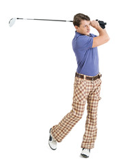 Male golfer swinging his club
