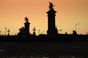 Silhouette. Pont de la Concorde, Paris, seen from the Seine.