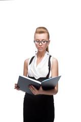 businesswoman reading diary