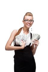businesswoman holding money