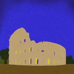 Colosseum in rome with stitch style on fabric background