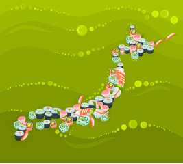 Japan - map composed of national dishes