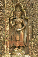 Decorative carving, Preah Khan temple, Angkor area, Cambodia