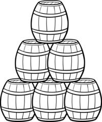 heap of barrels cartoon illustration