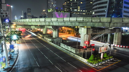 Time lapse of traffic in Bangkok city , Thailand