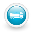 truck blue circle glossy web icon on white background