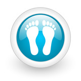 footprint blue circle glossy web icon on white background