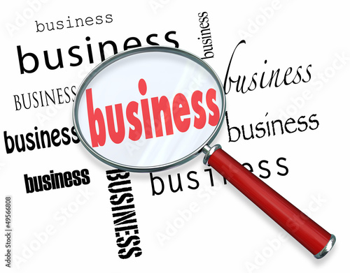 Business Word Magnifying Glass Learn Basics Start New Company