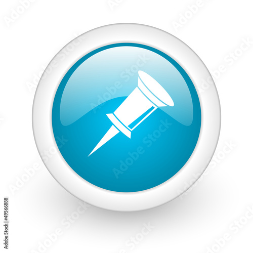 pin blue circle glossy web icon on white background
