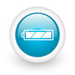 battery blue circle glossy web icon on white background