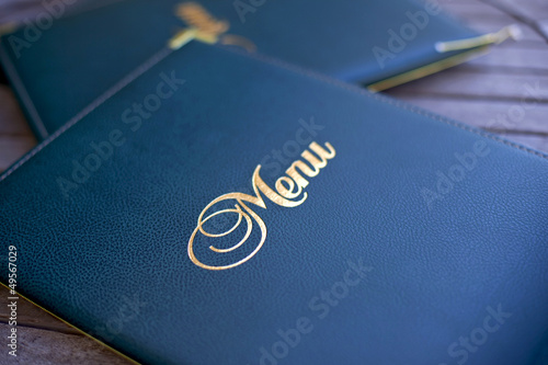 Leinwandbild Motiv Menu, carte, restaurant, choix, luxe, gastronomie, mot
